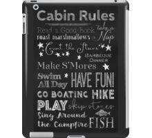 Cabin Rules Lodge Fun Chalkboard Typography Art iPad Case/Skin