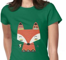Tribal Red Fox Cartoon Animals Womens Fitted T-Shirt