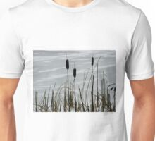 Haze morning around the frozen lake  Unisex T-Shirt