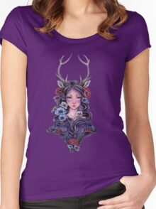 Dark Faun Girl with Flowers Women's Fitted Scoop T-Shirt