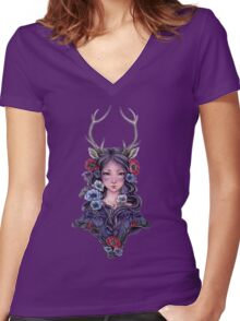 Dark Faun Girl with Flowers Women's Fitted V-Neck T-Shirt