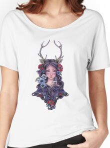 Dark Faun Girl with Flowers Women's Relaxed Fit T-Shirt