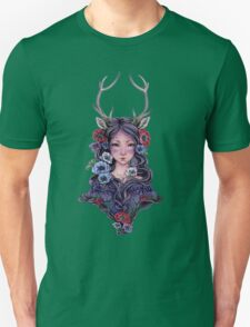 Dark Faun Girl with Flowers T-Shirt