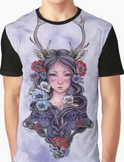 Dark Faun Girl with Flowers Graphic T-Shirt