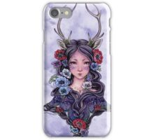 Dark Faun Girl with Flowers iPhone Case/Skin