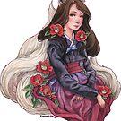 Gumiho/Kitsune with Camelias - Fox Spirit Girl by meredithdillman