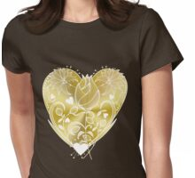 White Inked Floral Gold Heart Womens Fitted T-Shirt