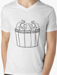 2 oranges comic cartoon face grin funny team buddies party harvest bucket pick bauer Mens V-Neck T-Shirt
