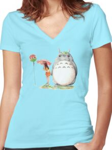 grown up totoro Women's Fitted V-Neck T-Shirt