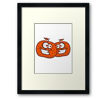 2 oranges comic cartoon face grin funny team buddies party Framed Print
