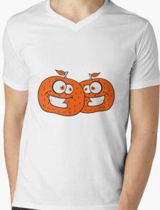 2 oranges comic cartoon face grin funny team buddies party Mens V-Neck T-Shirt