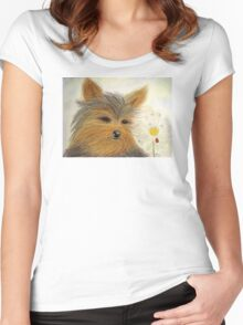 Yorkie Summer Fun Women's Fitted Scoop T-Shirt
