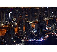 Photography of tall buildings, skyscrapers from Dubai at night, United Arab Emirates. Photographic Print