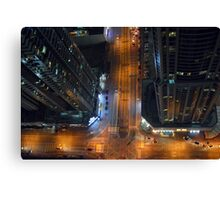 Photography of tall buildings, skyscrapers from Dubai at night, United Arab Emirates. Canvas Print