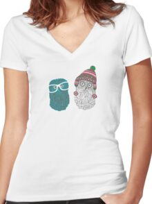 Snow owl Women's Fitted V-Neck T-Shirt