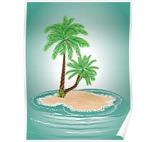 Palm Tree on Island 2 Poster