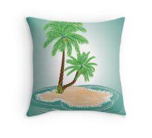 Palm Tree on Island 2 Throw Pillow