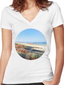 Beach Summer Women's Fitted V-Neck T-Shirt