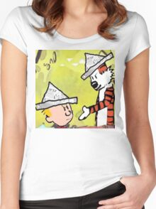 calvin hobbes news papper Women's Fitted Scoop T-Shirt