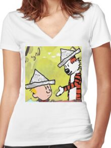 calvin hobbes news papper Women's Fitted V-Neck T-Shirt