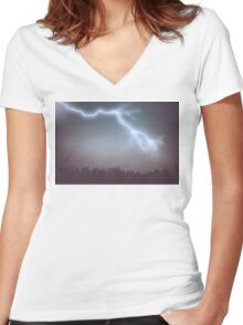 Storm Clouds and Lightning Women's Fitted V-Neck T-Shirt