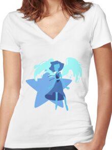 Lapis Lazuli (Light Blue) Women's Fitted V-Neck T-Shirt