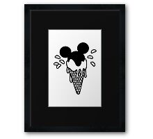 B&W Mickey Icecream Splash Framed Print