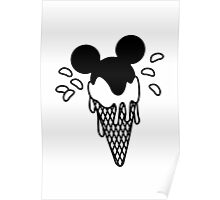 B&W Mickey Icecream Splash Poster