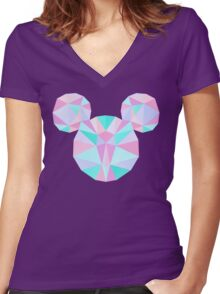 Crystal Mouse Women's Fitted V-Neck T-Shirt