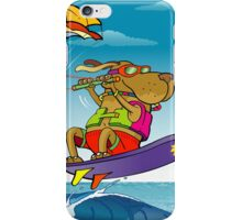Dog and duck ridding on sea iPhone Case/Skin