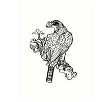 inkbrush hawk Art Print