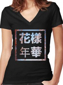 BTS HYHH 花樣年華  with Pink Flowers Women's Fitted V-Neck T-Shirt