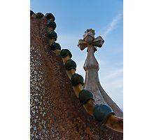 Capricious Trencadis Mosaics - Antoni Gaudi's Dragon's Back and Cross Turret at Casa Batllo Photographic Print