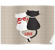 Cute Cats In Love Poster