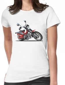 Cartoon Motorcycle Womens Fitted T-Shirt