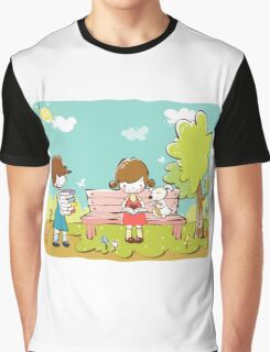 Cartoon girl and boy kids learning in park dog is sitting with girl Graphic T-Shirt