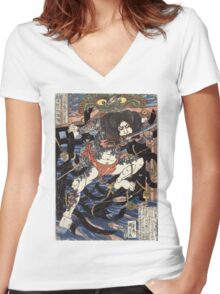 Lang Libai And Fei Zhangan - Kuniyoshi Utagawa - 1826 - woodcut Women's Fitted V-Neck T-Shirt