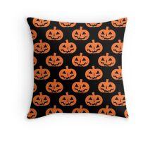Black and Orange Jack O' Lantern Pattern Throw Pillow