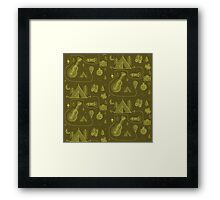Camping Seamless Pattern. Framed Print