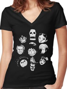 One Piece - Straw Hat Pirates Women's Fitted V-Neck T-Shirt