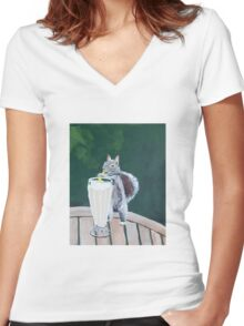 'Squirrel Thief' by Jensen Hoswell (2016) Women's Fitted V-Neck T-Shirt