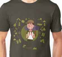 Active Lifestyle. Tourist with Equipment for Camping.  Unisex T-Shirt