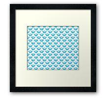 Cute Blue Watercolor Owl Pattern Framed Print
