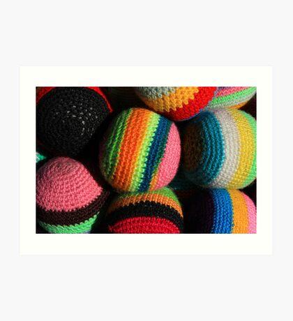 Colorful Knit Balls Art Print