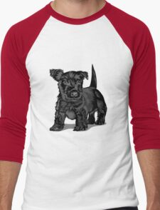 Cute black dog  Men's Baseball ¾ T-Shirt