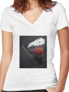 Pomegranate kangaroo scull knife reflected in glass Women's Fitted V-Neck T-Shirt