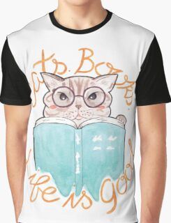 Books. Cats. Life is Good Graphic T-Shirt