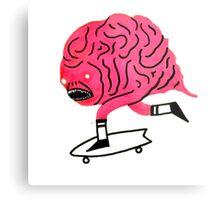 Skateboarding Brain Metal Print