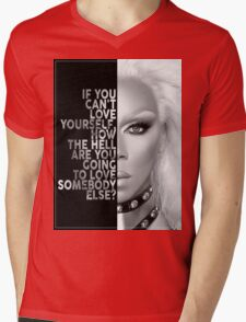 Ru Paul Text Portrait Mens V-Neck T-Shirt