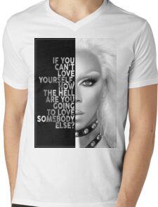 Ru Paul Text Portrait Mens V-Neck T-Shirt
